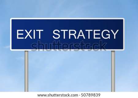 A blue road sign with white text saying Exit Strategy