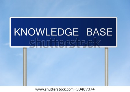 A blue road sign with white text saying Knowledge Base - stock photo
