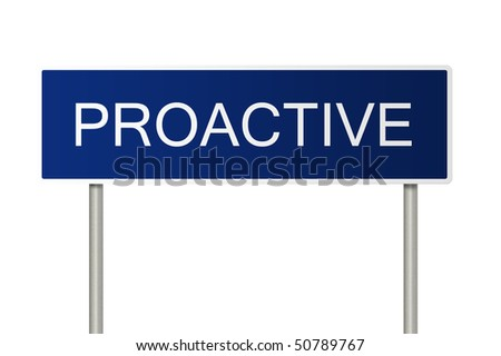 A blue road sign with white text saying Proactive - stock photo