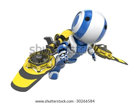 A blue robot flying in a yellow and black rocket pack, flying free. - stock photo