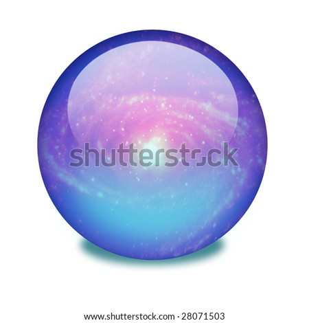 A blue shiny orb or sphere with a galaxy inside. Clipping path with the orb (without the drop shadow) included.