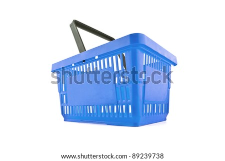 a blue shopping basket - stock photo