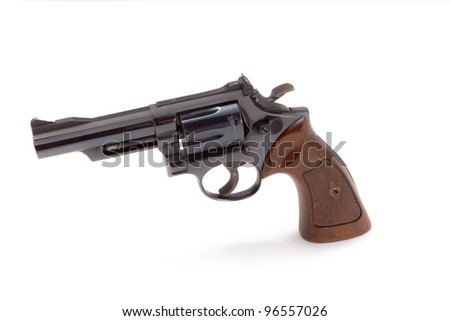 A blue steel .357 caliber handgun isolated on a white background.