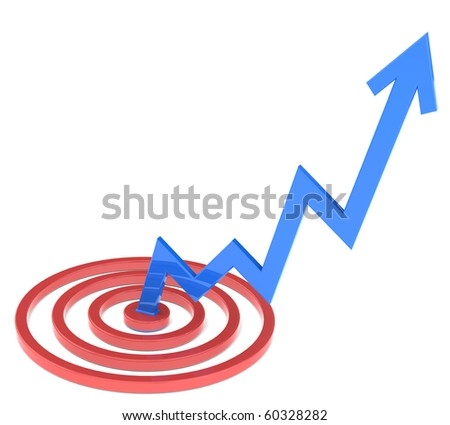 A blue stock market line rising up from its target - stock photo