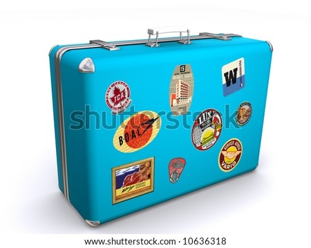 A blue suit case with travel labels stuck on the luggage indicating lots of travel. - stock photo