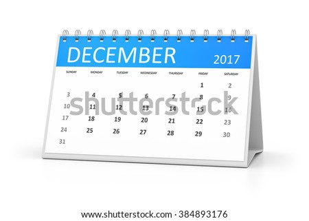 A blue table calendar for your events 2017 december