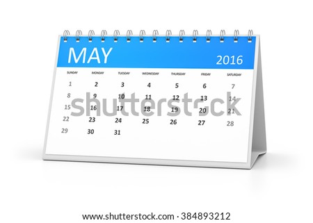 A blue table calendar for your events 2016 may - stock photo