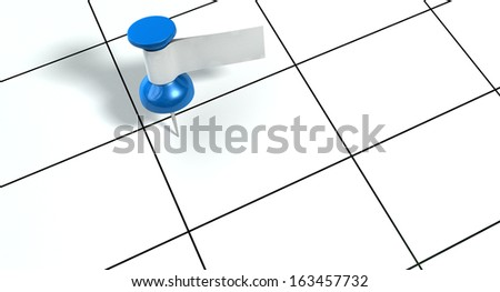 A blue thumbtack with a blank white tape tag attached to it on a generic calendar grid background - stock photo