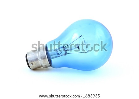 A blue-tinted daylight simulation bulb with bayonet fitting, isolated on a white background - stock photo
