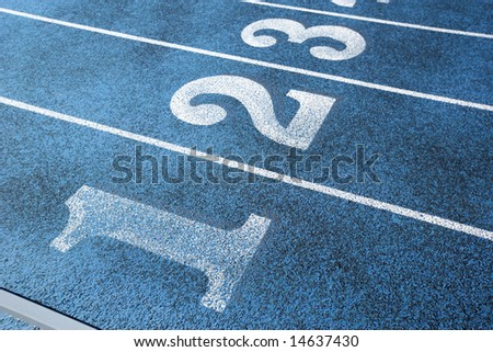 A blue track at a High School