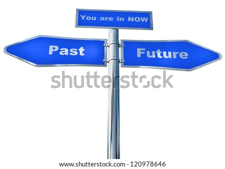 A blue two-way street sign to the Past and Future pointing in opposite directions. And a pointer of where you are now - stock photo