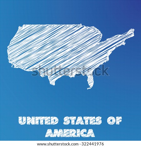 A Blueprint map of the country of United States of America