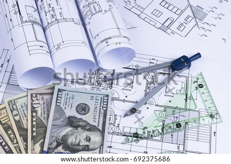 Asset blueprint stock images royalty free images vectors a blueprint of an architect with money symbolic photo for financing and planning of a malvernweather