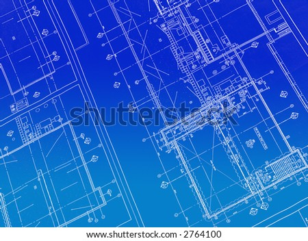A blueprint with white ink and a blue gradient background