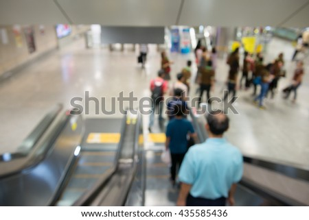 A blur background of escalator in subway station.  - stock photo