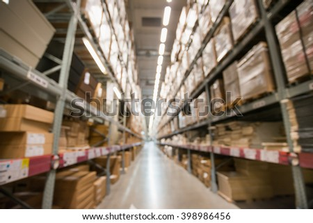 A blur background of furniture store warehouse