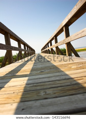 A boardwalk at the beach in Outer Banks, North Carolina