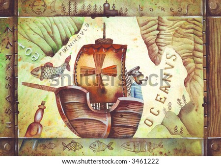 A boat and old geographical map. Illustration by Eugene Ivanov.