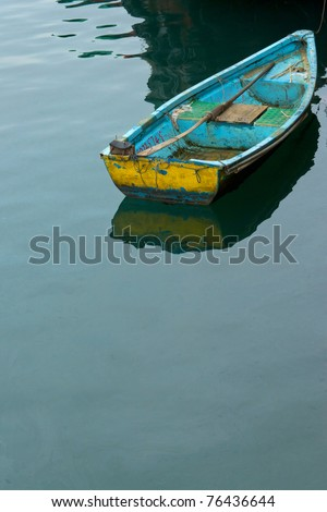 A boat floating in the sea - stock photo