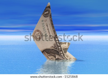 A boat made from a dollar bill sinkong into a calm sea - stock photo