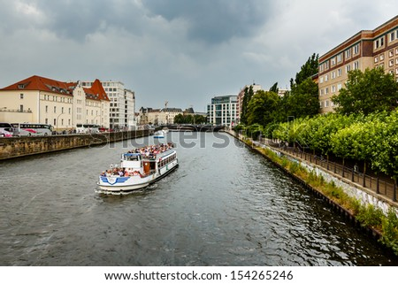 A Boat Trip in the Spree River, Berlin, Germany - stock photo