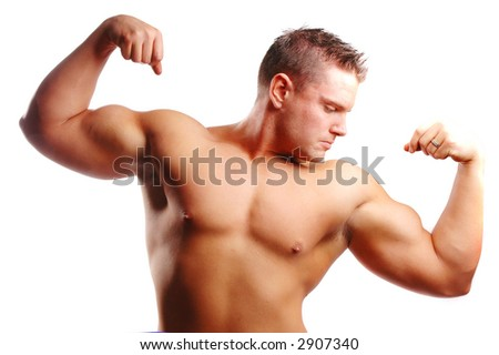 a body builder with a lot muscle - stock photo