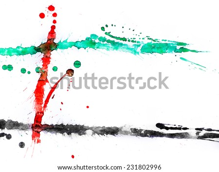 A bold color splashes on white paper. Colors of united arab emirates flag. - stock photo