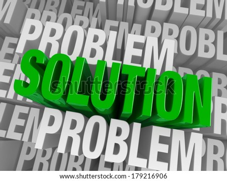 """A bold, green """"SOLUTION"""" arises to stand above a background of consisting of the word """"PROBLEM"""" repeated many times at different depths. - stock photo"""
