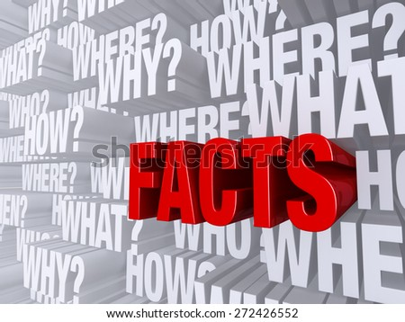 """A bold, red """"FACTS"""" dramatically pushes forward out of a light gray background filled with """"WHO?"""", """"WHAT?"""", """"WHERE?"""", """"WHEN?"""", """"HOW?"""", and """"WHY?"""".  - stock photo"""