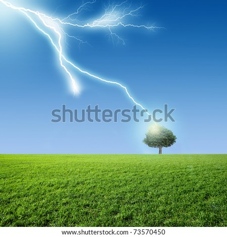 A bolt from the blue - stock photo