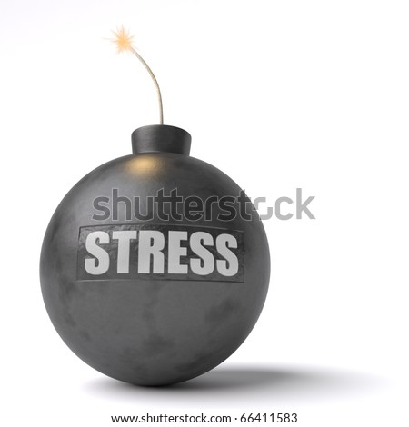 "A bomb with the word ""stress"" engraved on it ready to explode isolated against a white background."