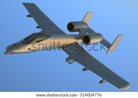 A 10 Bomber with front gun and missiles. - stock photo
