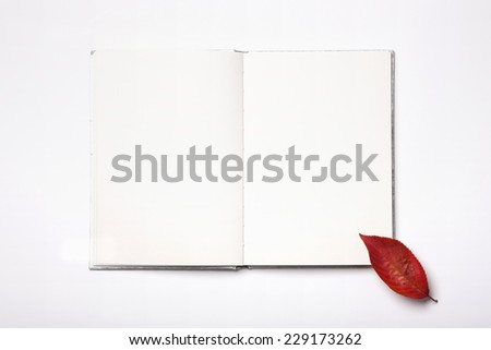 A book(diary, note) with red autumn(fall) leaf isolated white, top view. - stock photo