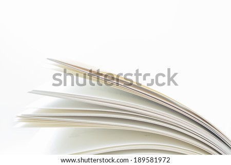 A book's open pages up close