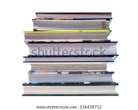 A book stack isolated against a white background