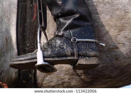 A boot in a stirrup, closeup - stock photo