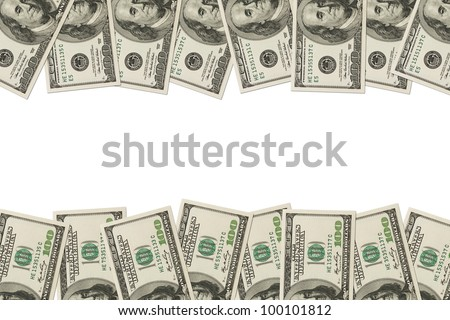 A border of American money isolated on white with copy space, Money Border of hundred dollar bills - stock photo