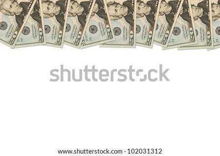 A border of American money isolated on white with copy space, Money Border of twenty dollar bills - stock photo