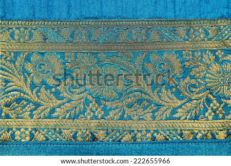 A border of an Indian textile. - stock photo