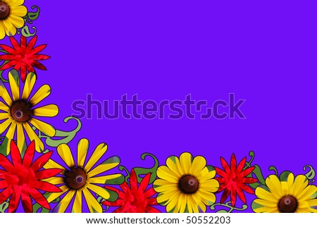 A border of red rose and black eyed susan pictures cut into shapes - stock photo