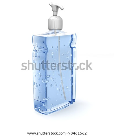A bottle of blue hand sanitizer with a pump on a white background