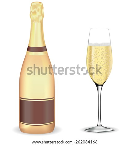 A bottle of champagne and a glass isolated on white background. Raster version - stock photo
