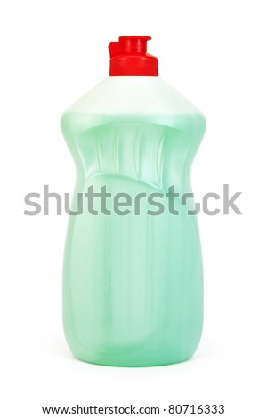 A bottle of light green with detergent isolated on a white background - stock photo
