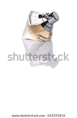 A bottle of perfume over white background