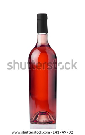 A bottle of rose wine isolated against a white background - stock photo