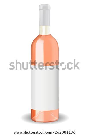 A bottle of rose wine with blank label isolated on white background. Raster version - stock photo