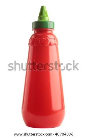 A bottle of tomato ketchup, isolated on a white background. Add your own label.