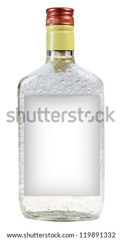 A bottle of vodka isolated on white background