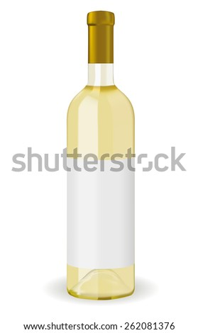 A bottle of white wine with blank label isolated on white background. Raster version - stock photo