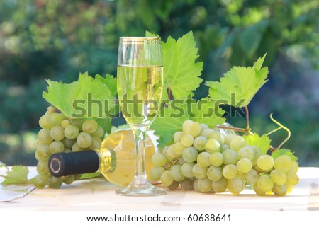 A bottle of white wine with wineglass, grapes and leaves on wooden table. Outdoor. Summer day.